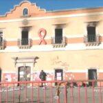 Cuatro personas detenidas por incendiar la presidencia municipal de Fresnillo, Zacatecas.