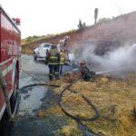 🔴Se quema tráiler con trigo en autopista a Aguascalientes.🔴